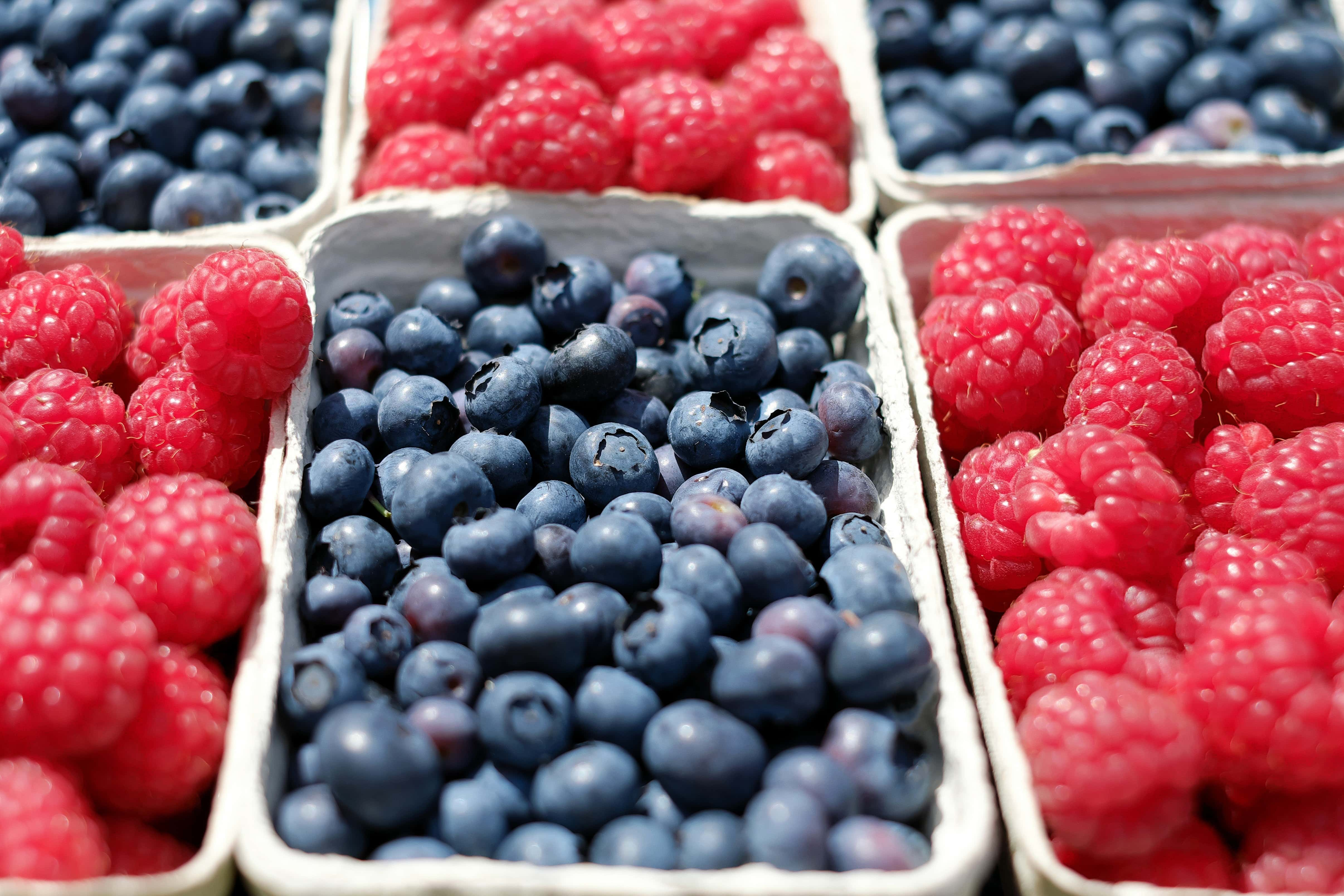 antioxidant rich blueberries and raspberries - berries