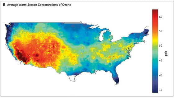 Ground level ozone concentrations in united states 2000-2012